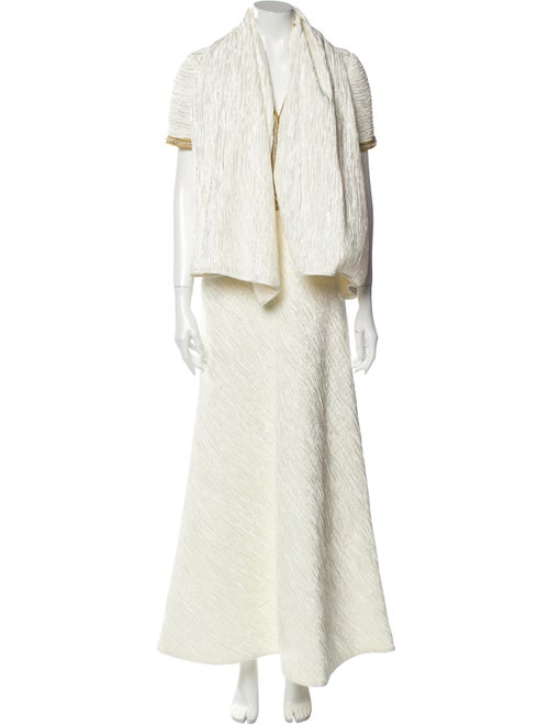 Mary McFadden V-Neck Long Dress