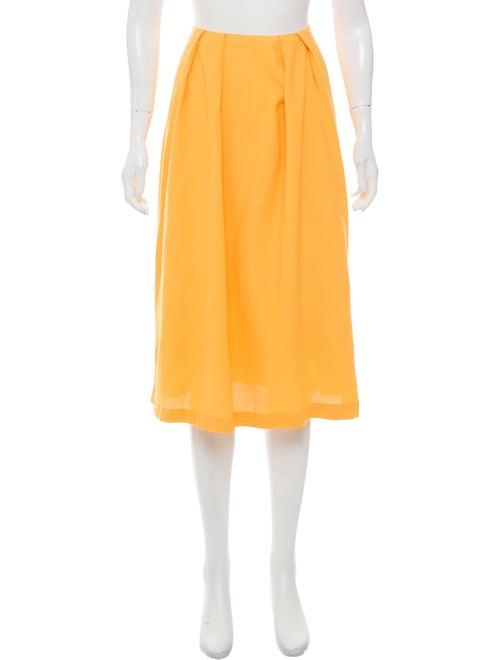 Marimekko Pleated Knee-Length Skirt Yellow - image 1