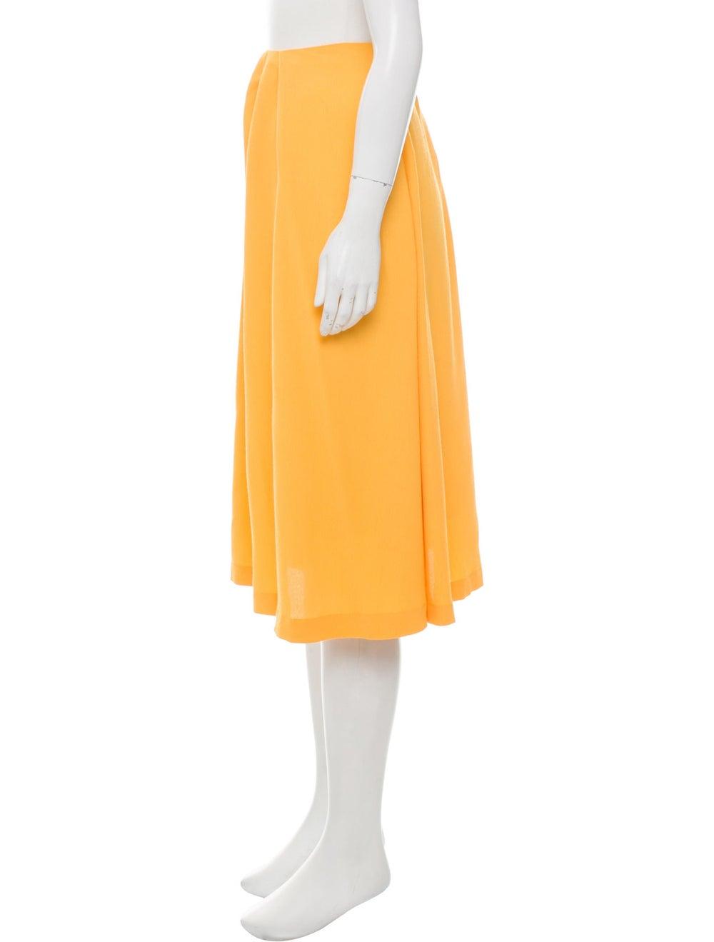 Marimekko Pleated Knee-Length Skirt Yellow - image 2