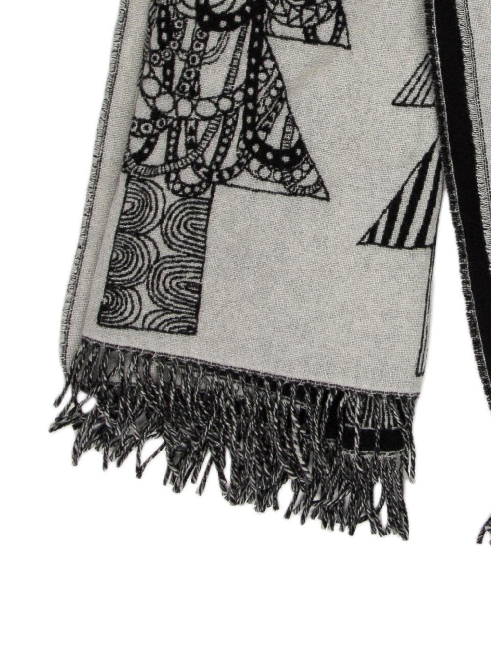 Marimekko Wool Printed Shawl Grey - image 2