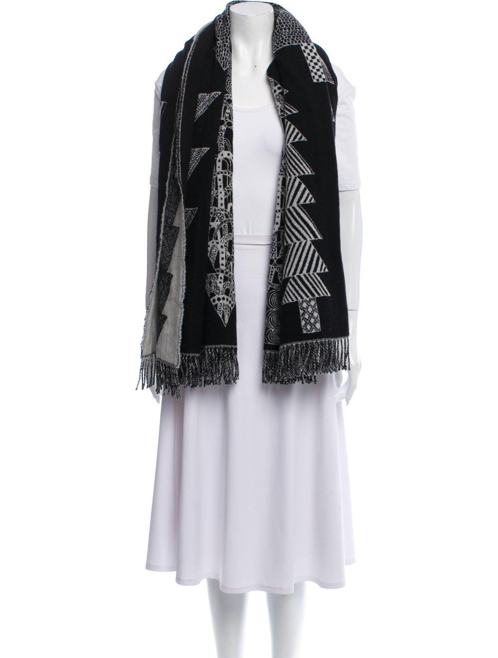 Marimekko Wool Printed Shawl Grey - image 3