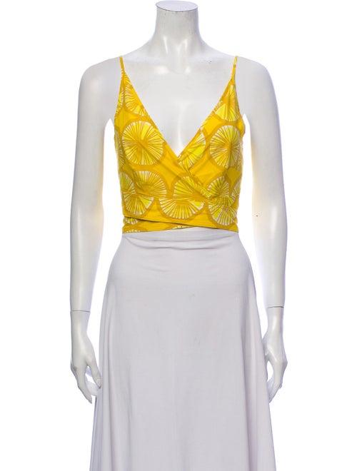 Marimekko Printed V-Neck Crop Top w/ Tags Yellow