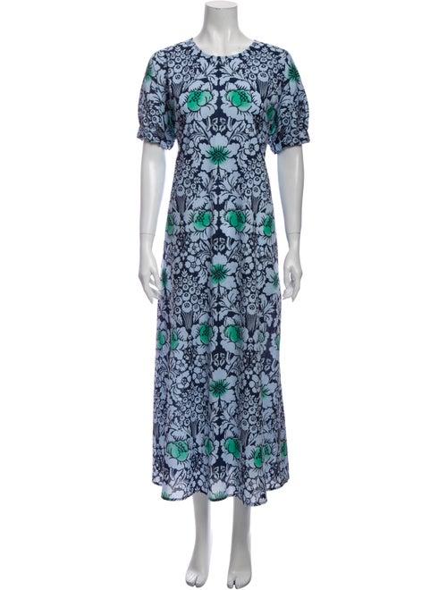 Marimekko Floral Print Long Dress Blue