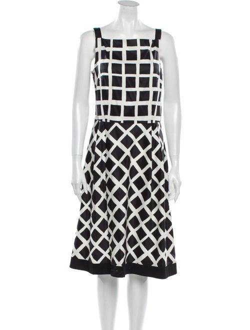 Marimekko Plaid Print Midi Length Dress Black