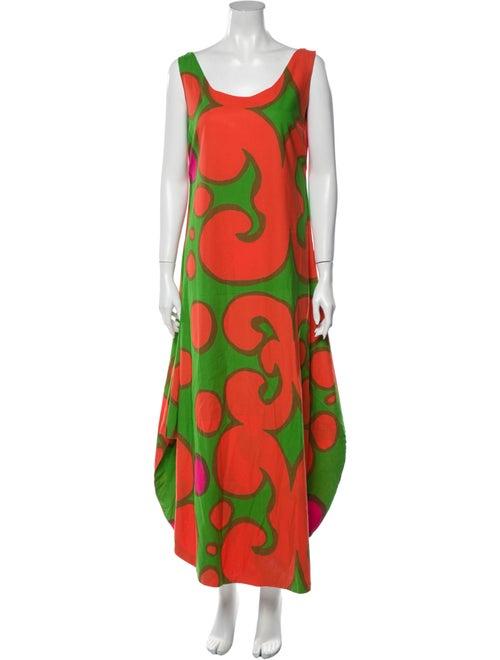 Marimekko Printed Long Dress Orange