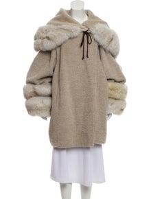 c03d0a0c9 Marina Rinaldi. Alpaca Fur Trimmed Virgin Wool Coat