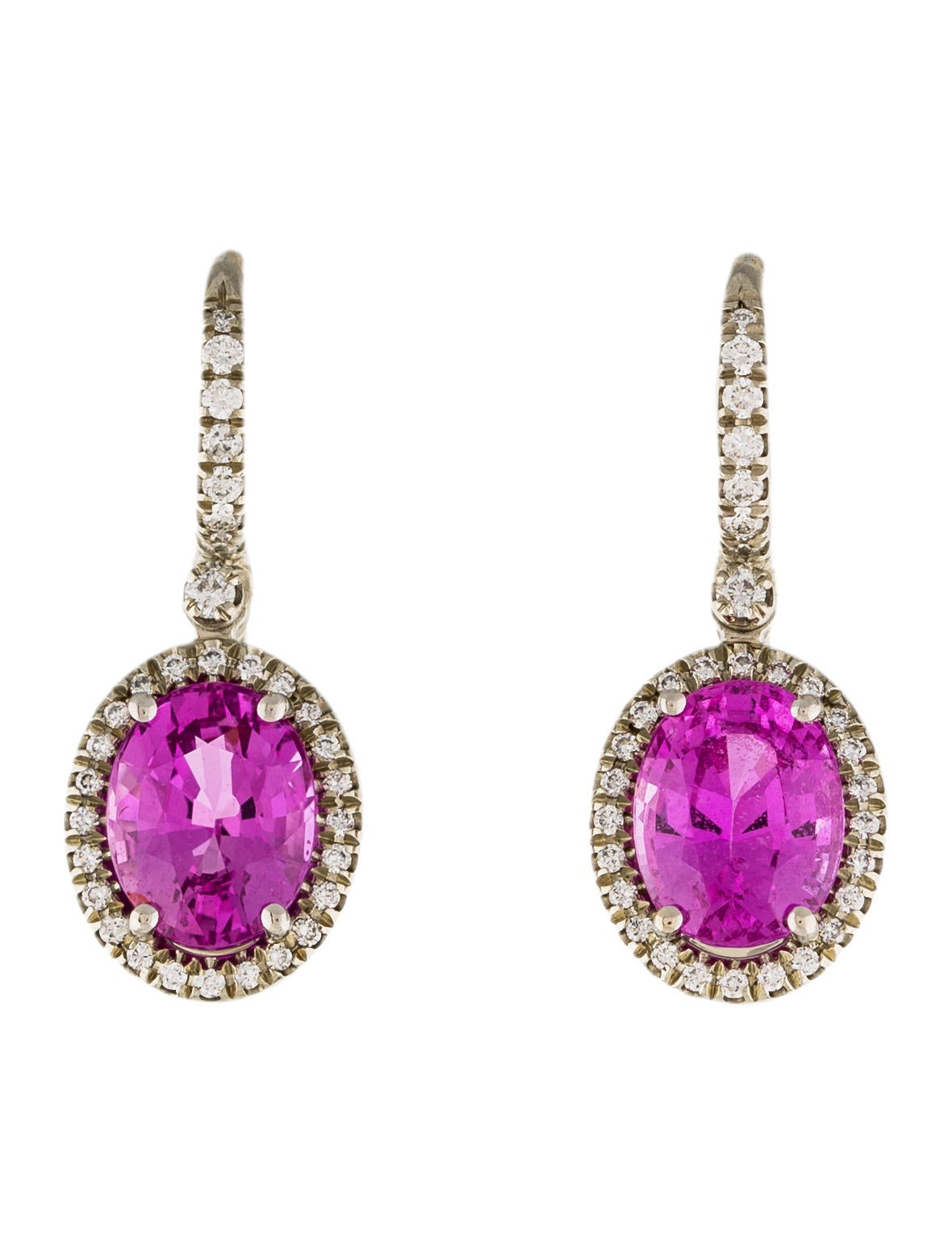 mark patterson 18k diamond amp pink sapphire drop earrings