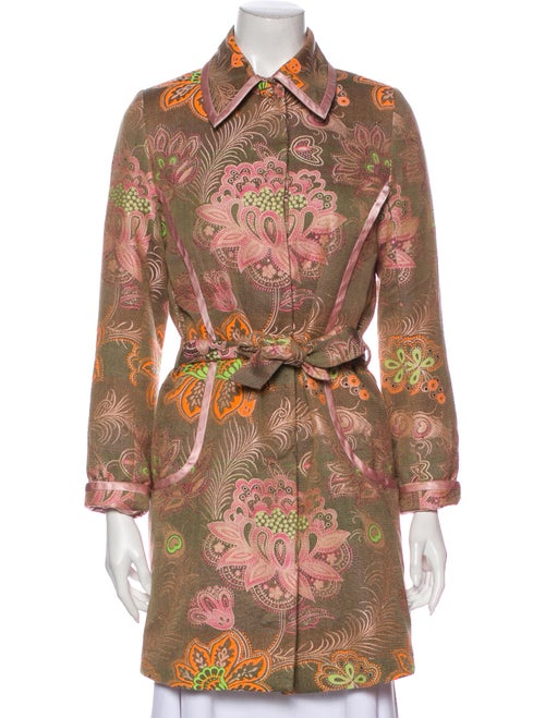 Matthew Williamson Floral Print Trench Coat Pink