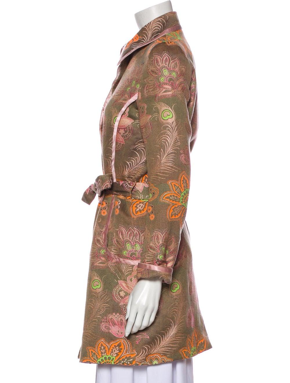 Matthew Williamson Floral Print Trench Coat Pink - image 2