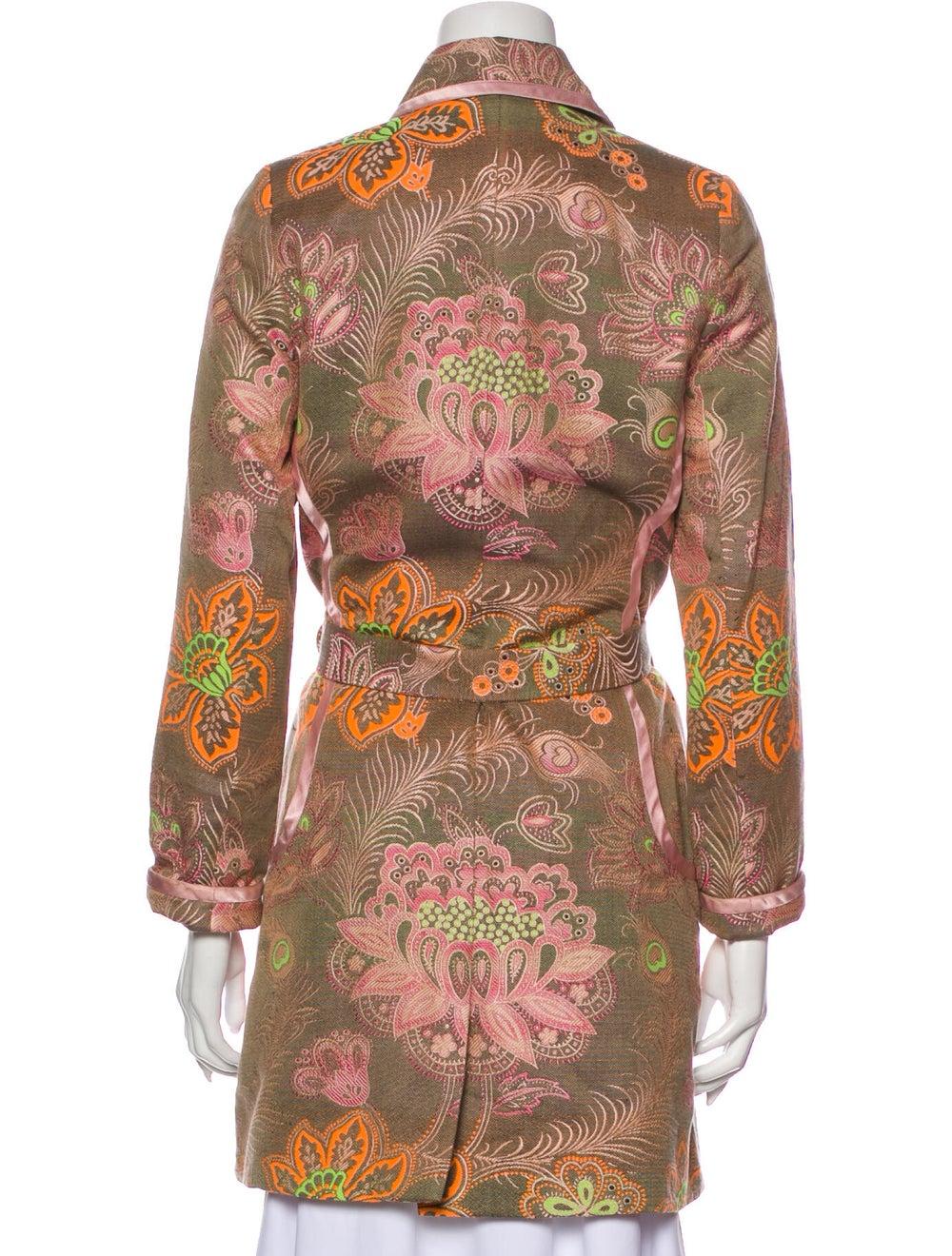 Matthew Williamson Floral Print Trench Coat Pink - image 3