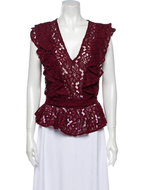 Marissa Webb Lace Pattern V-Neck Blouse Red