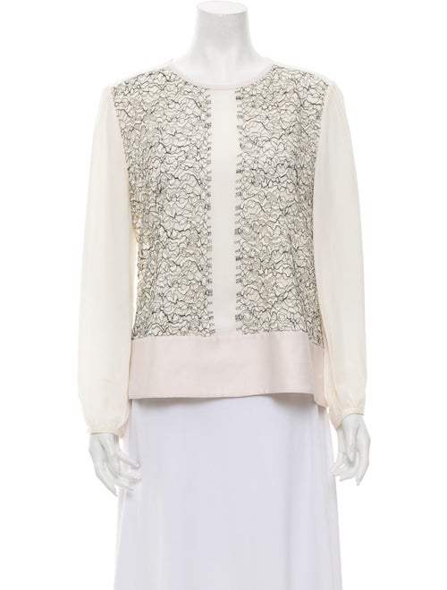 Marissa Webb Silk Lace Pattern Top White