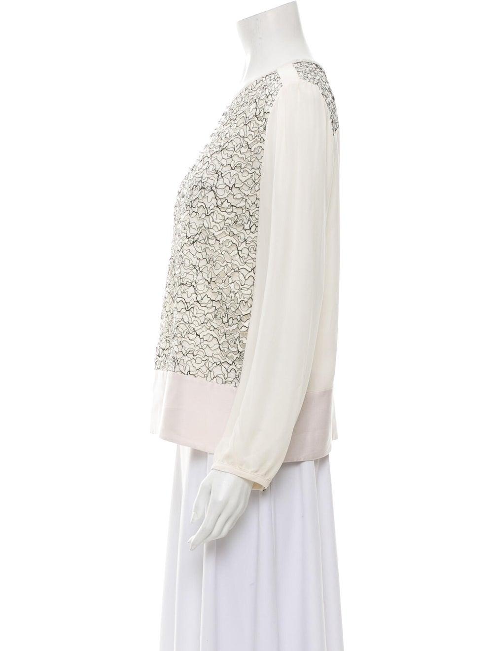 Marissa Webb Silk Lace Pattern Top White - image 2