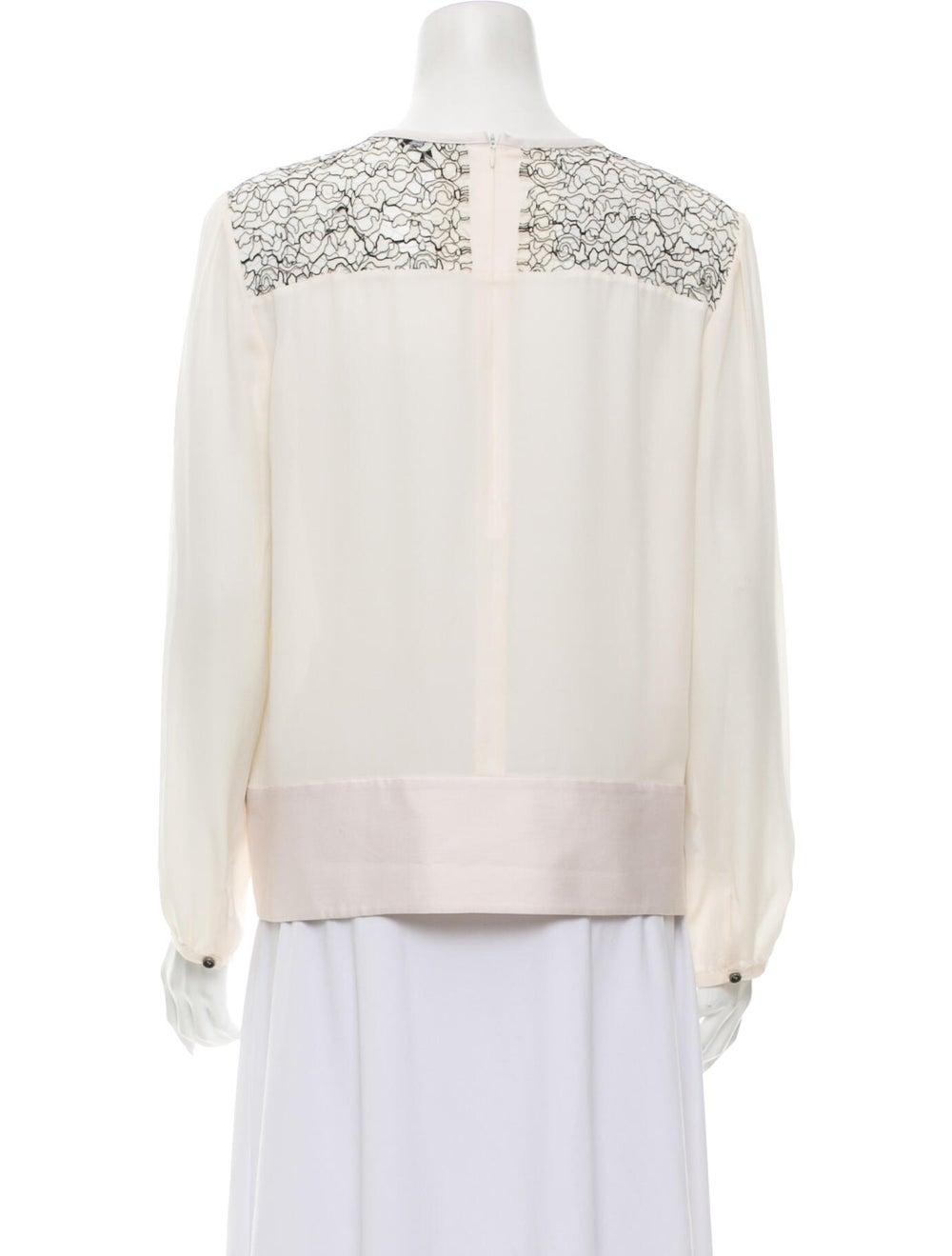 Marissa Webb Silk Lace Pattern Top White - image 3