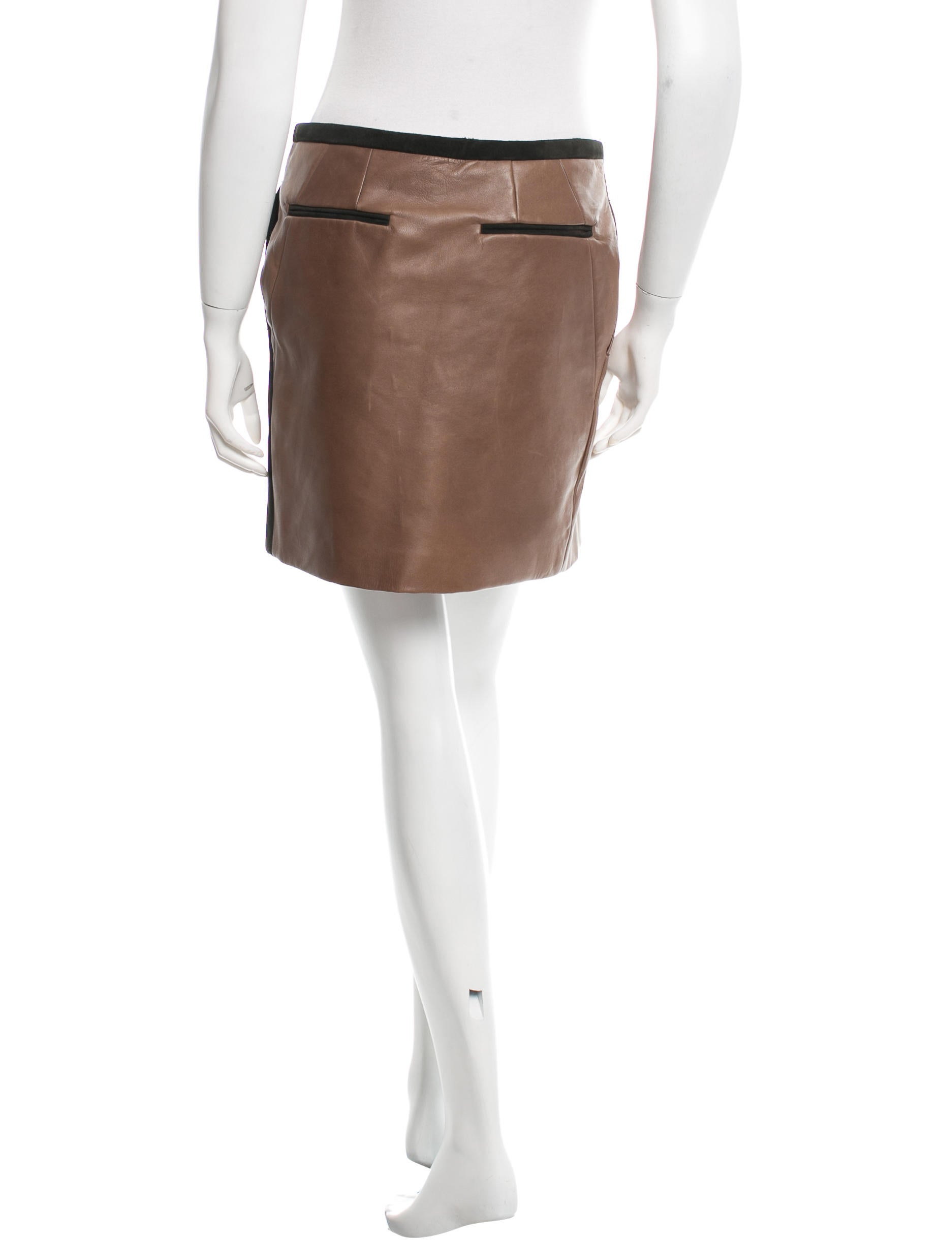 maiyet suede and leather wrap skirt clothing may20766