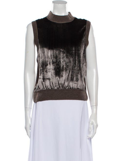 Maiyet Mock Neck Sleeveless Top Brown
