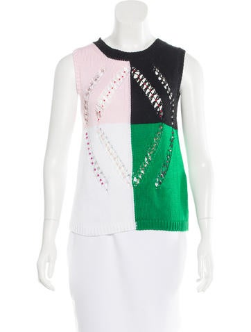 Marco De Vincenzo Embellished Colorblock Sweater None