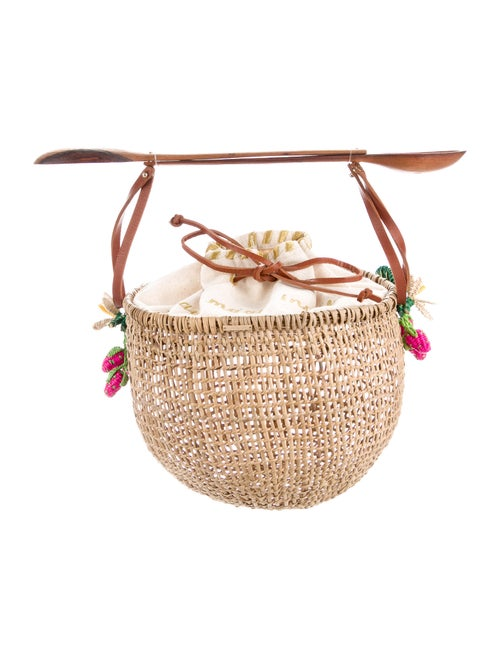 Mercedes Salazar Raffia Basket Bag