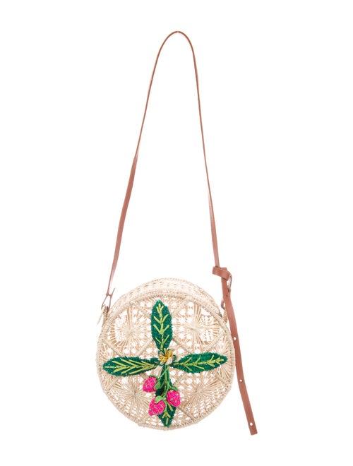 Mercedes Salazar Leather-Trimmed Straw Crossbody