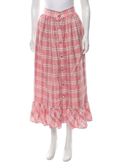 Markarian 2019 Gingham Pattern Skirt Pink