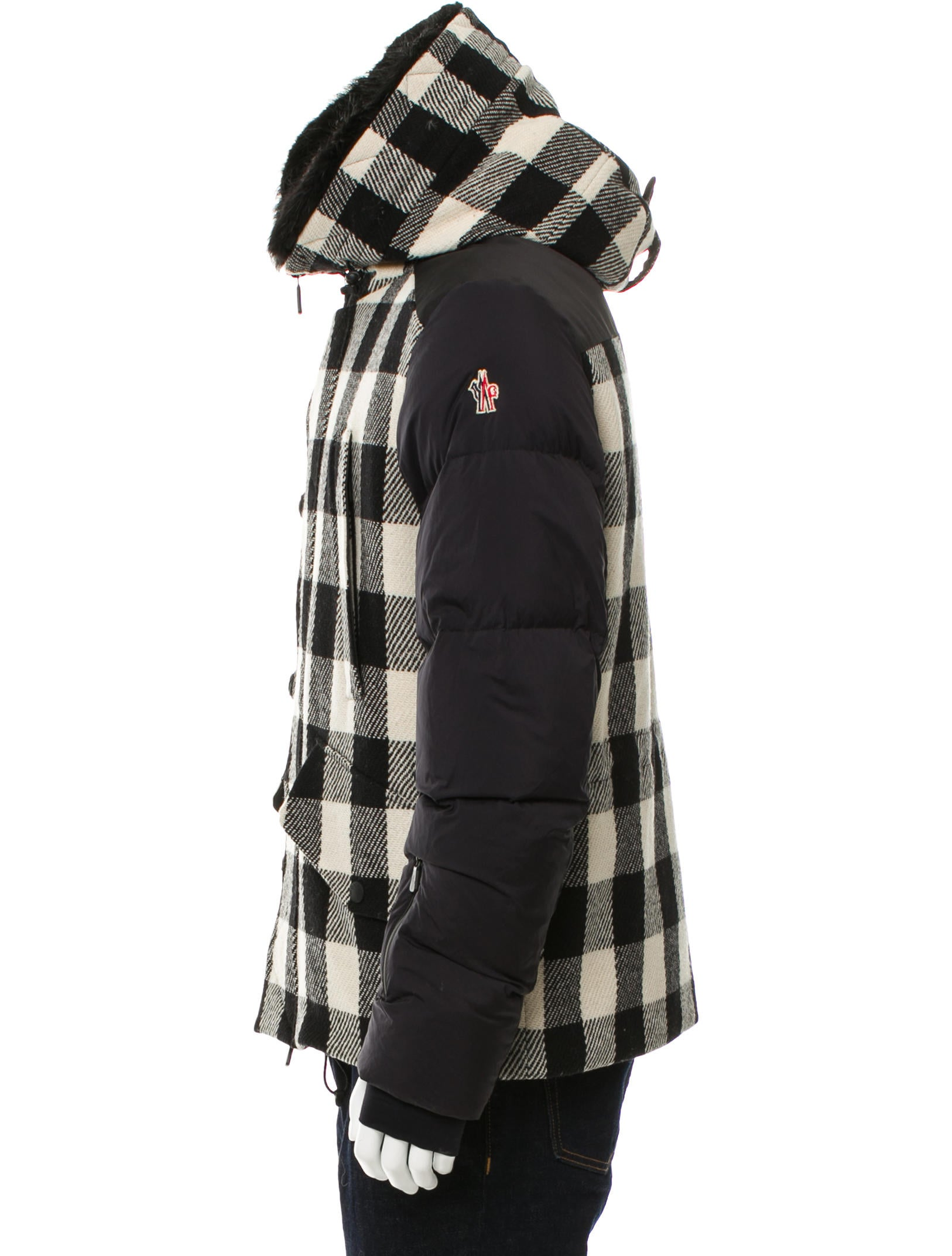 moncler grenoble montrond plaid down coat