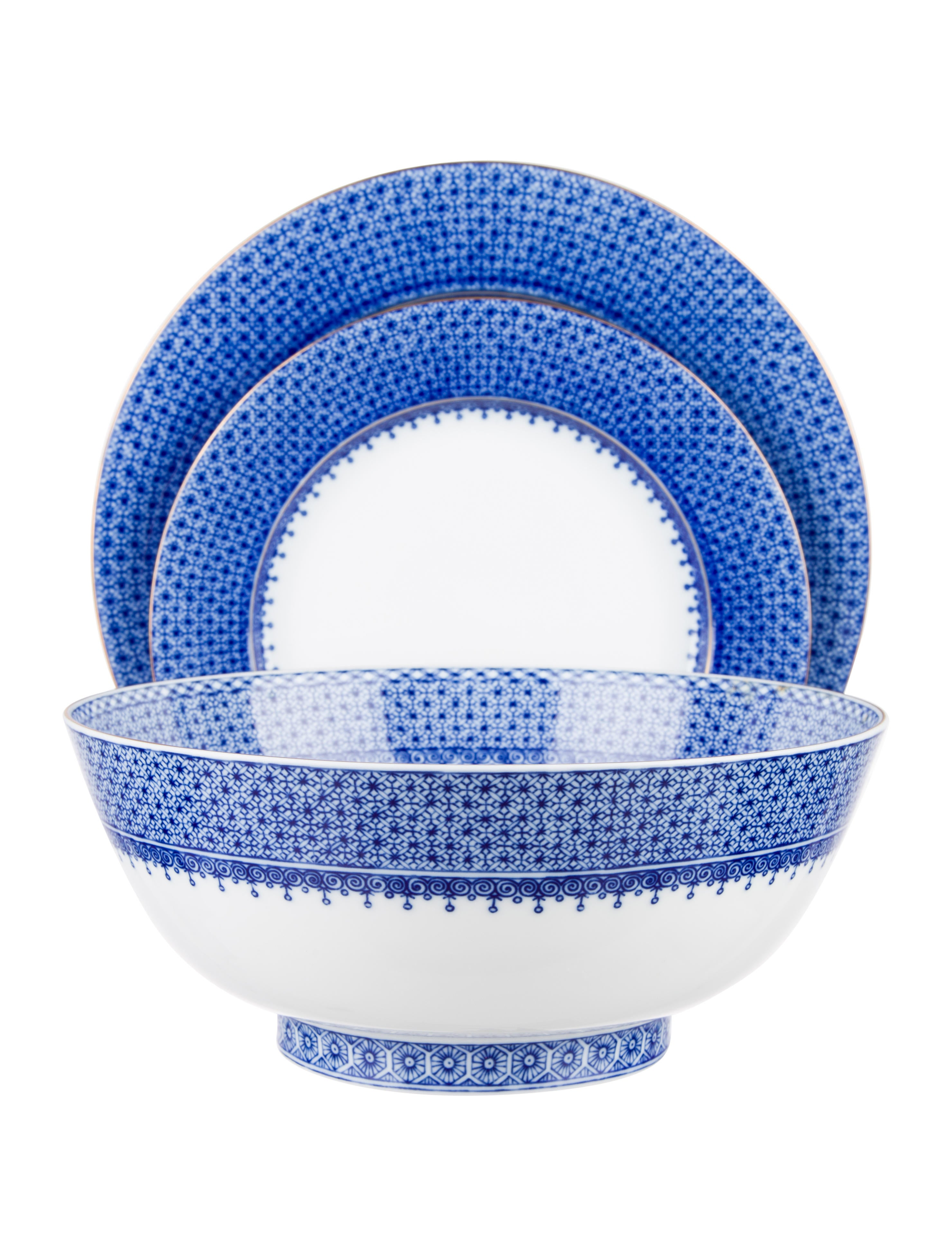 Mottahedeh 25-Piece Blue Lace Table Service - Tabletop And Kitchen ...
