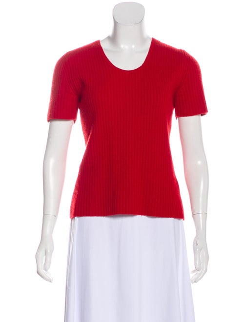 Michael Kors Cashmere Short Sleeve Sweater Red