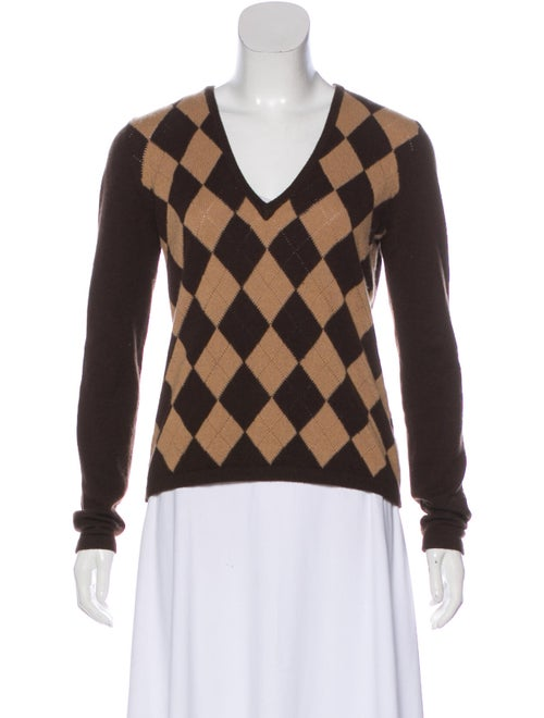 Michael Kors Cashmere Argyle Sweater tan