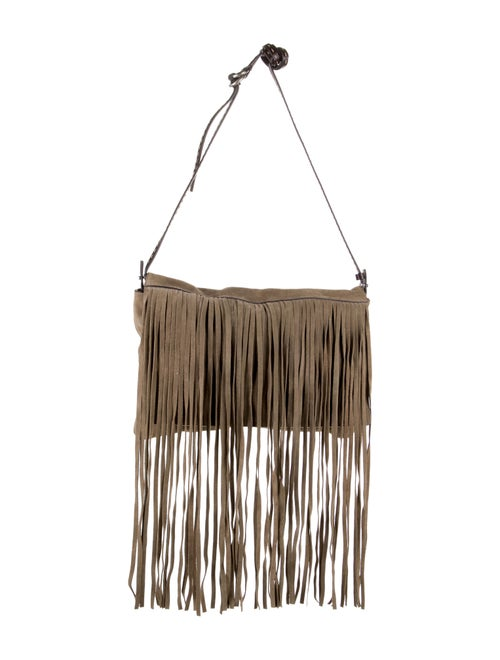 Michael Kors Suede Fringe Shoulder Bag Tan