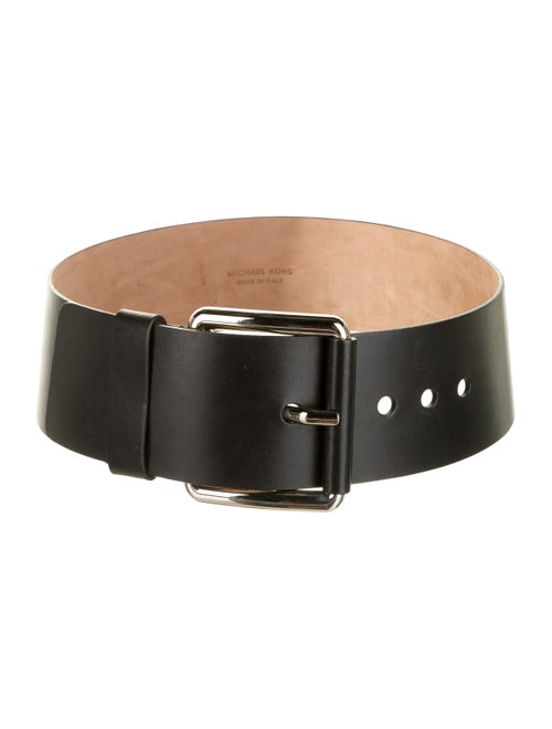 Michael Kors Wide Leather Belt Black