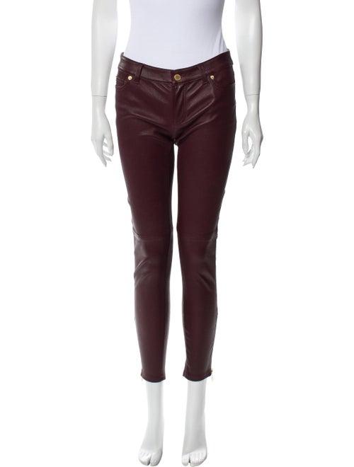 Michael Kors Lamb Leather Skinny Leg Pants Red