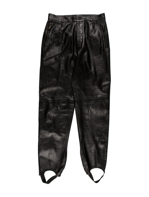 Michael Kors Leather Stirrup Pants black