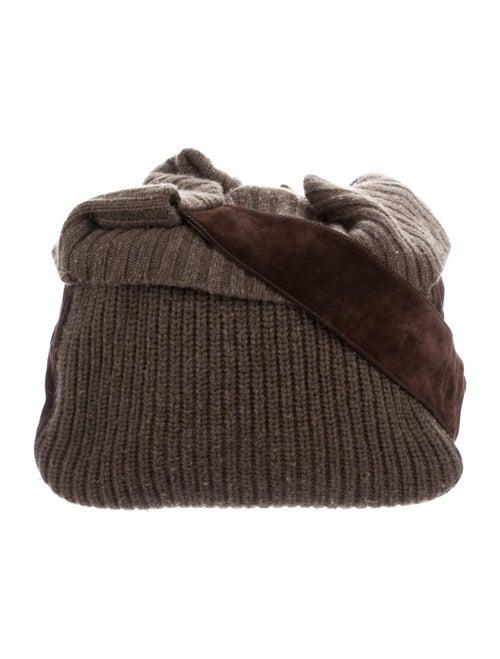 Michael Kors Suede-Trimmed Knit Hobo Brown