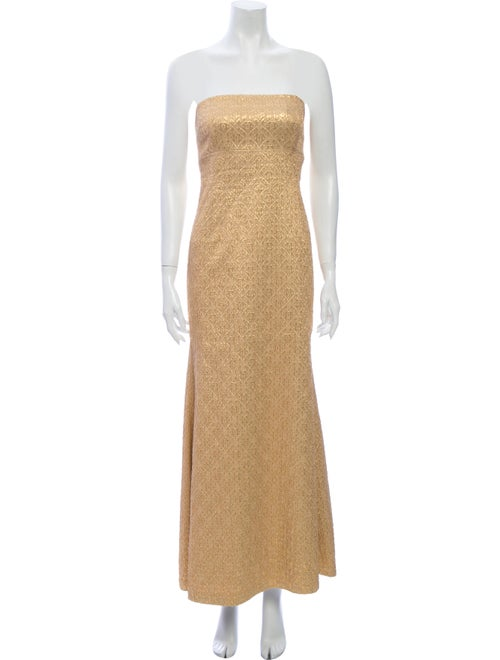 Michael Kors Strapless Long Dress Gold