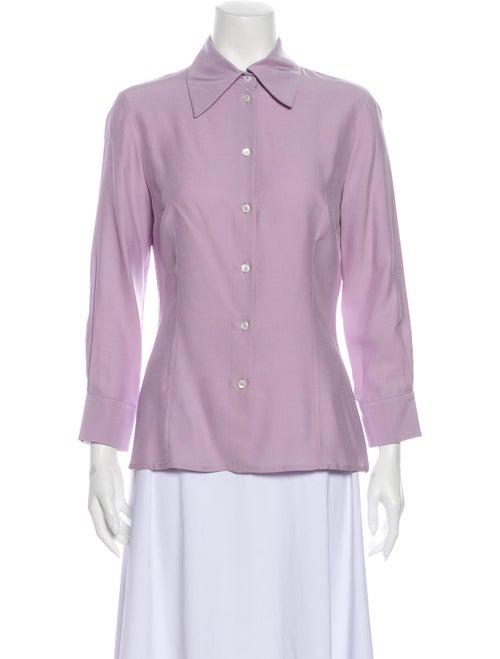 Michael Kors Silk Three-Quarter Sleeve Button-Up T