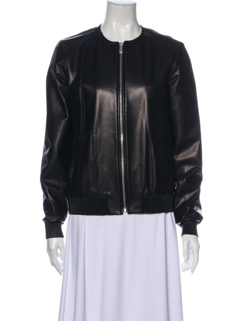 Michael Kors Leather Bomber Jacket Black