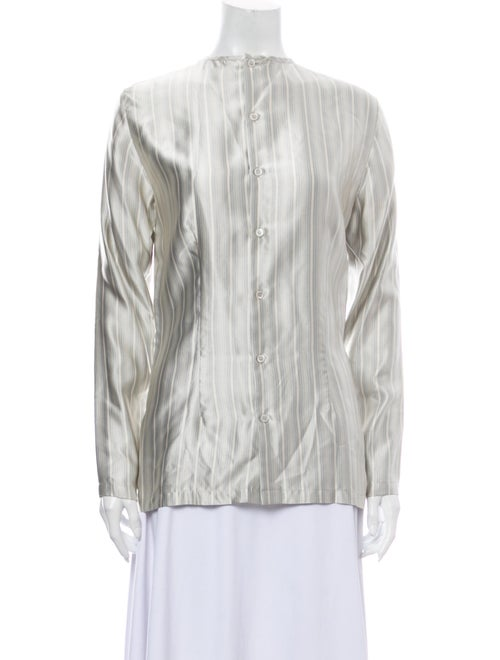Michael Kors Silk Striped Blouse Grey