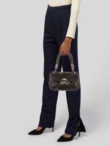 Michael Kors Snake Trimmed Leather Shoulder Bag