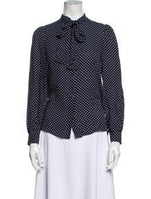 Michael Kors Silk Polka Dot Print Button-Up Top
