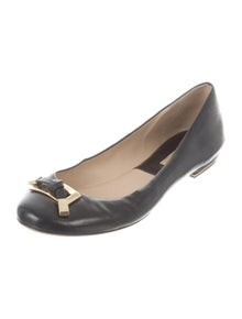Michael Kors Leather Bow Accents Ballet Flats