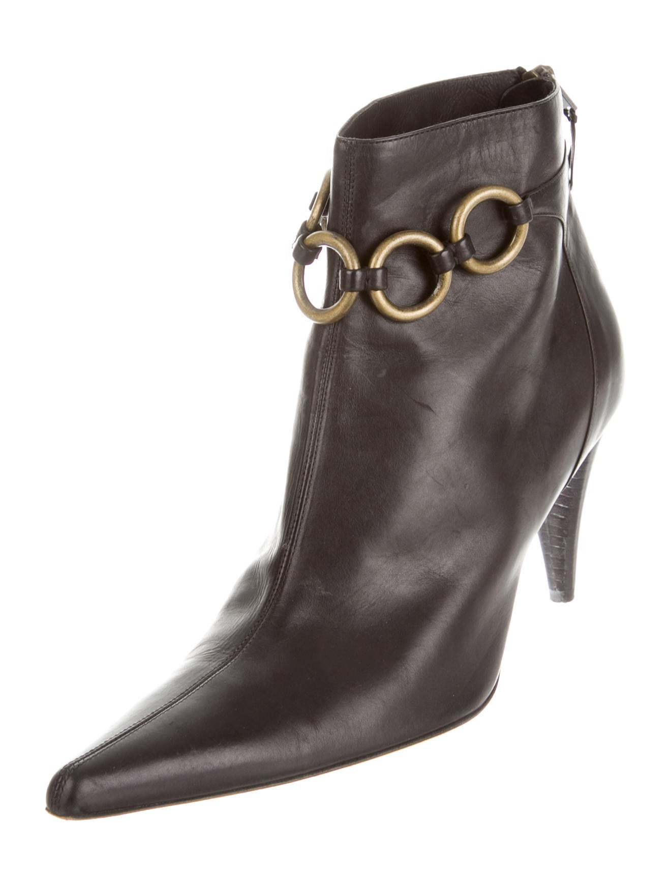 michael kors leather pointed toe booties shoes