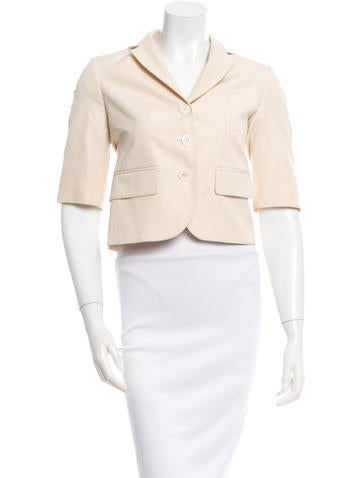 Michael Kors Notch-Lapel Three-Quarter Sleeve Blazer None