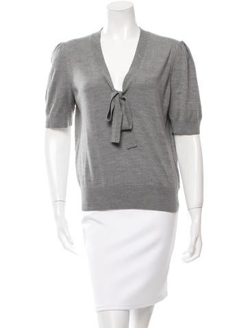 Michael Kors Bow-Accented Wool Top None