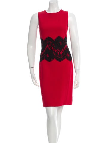 Michael Kors Lace-Accented Virgin Wool Dress