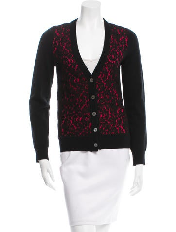 Michael Kors Lace-Accented Cashmere Cardigan None