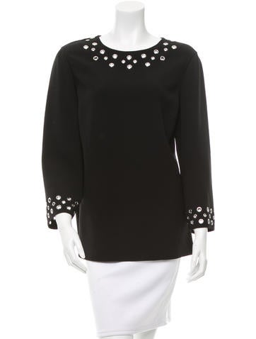 Michael Kors Embellished Wool Top None