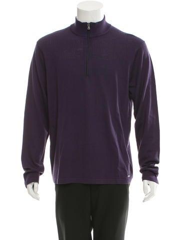 Michael Kors Rib Knit-Trimmed Half-Zip Sweater w/ Tags None