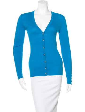 Michael Kors Rib Knit V-Neck Cardigan None