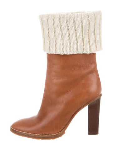 Michael Kors Rib Knit-Trimmed Ankle Boots None