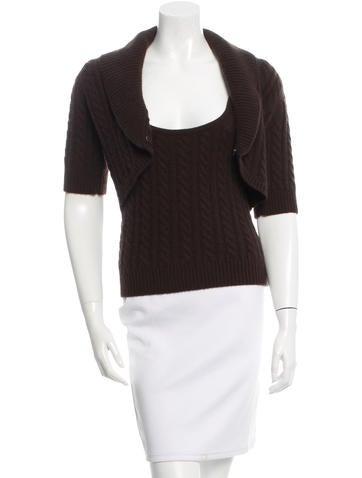 Michael Kors Cashmere Cable Knit Cardigan Set None